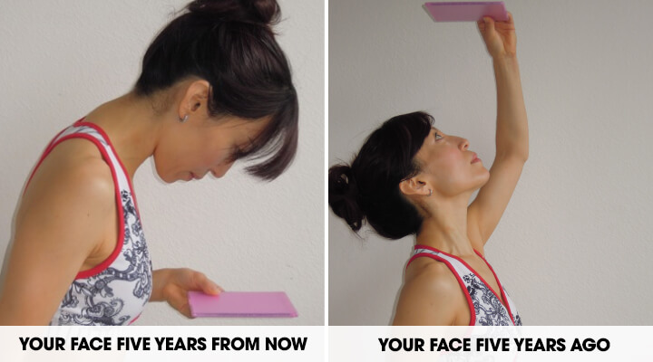 Two photos showing Fumiko Takatsu (a woman with black hair in a bun) doing exercises while looking up and down with a pink pad