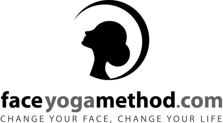 Black and white logo of the Face Yoga Method company. A black silhouette of a woman looking up.