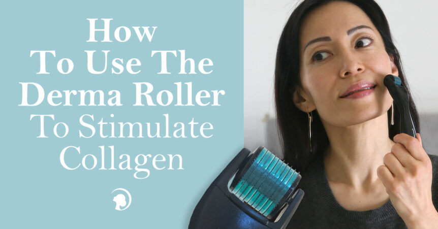 Fumiko Takatsu smiling while holding the face yoga method derma roller on her cheek.