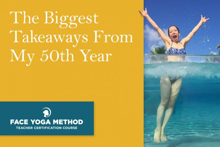 """New Year's resolutions. Photo of Fumiko Takatsu in the ocean with hands in the air for """"The biggest takeaways from my 50th year"""" blog cover."""