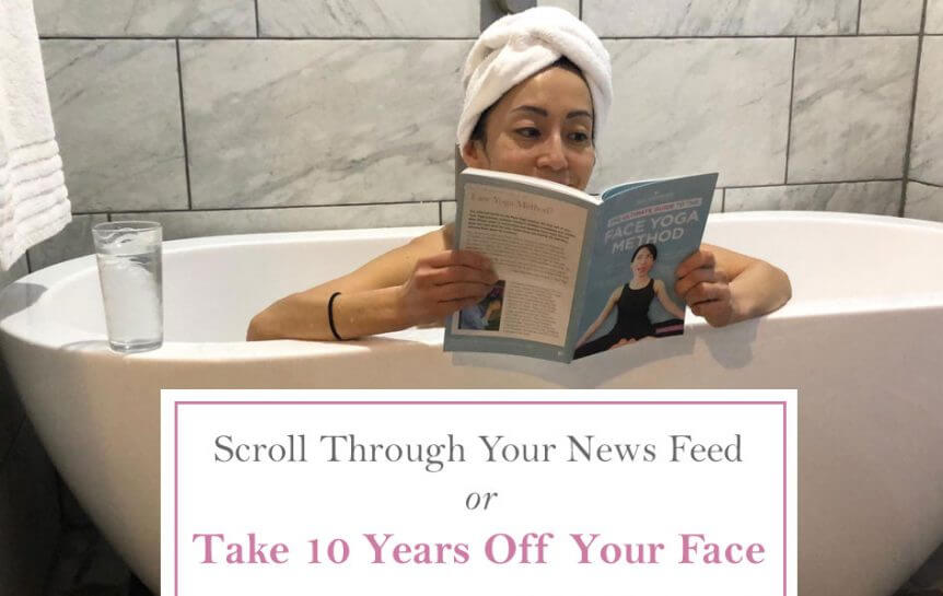 Photo of Fumiko Takatsu sitting in the bathtub and reading the Ultimate Guide To The Face Yoga Method Book