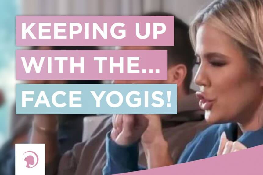Photo showing the Kardashians doing Face Yoga. In the forefront Khloe Kardashian with a Face Yoga expression.