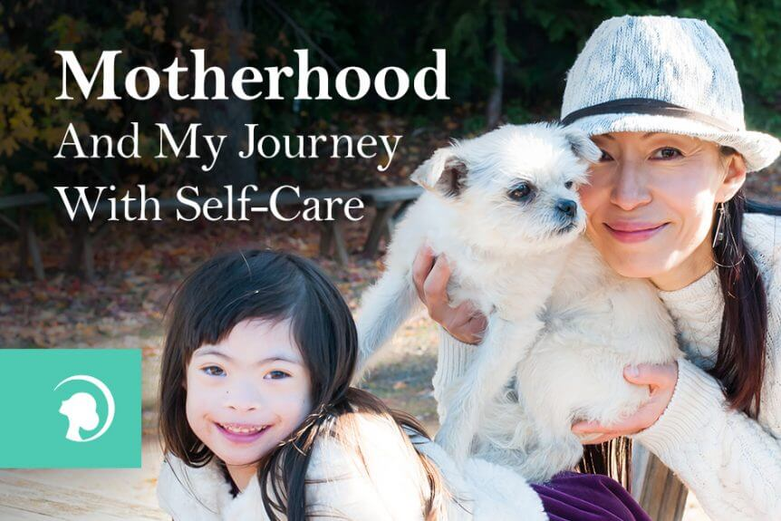 "Photo featuring the tittle of the blog post ""Motherhood And My Journey With Self-Care"" and below Fumiko Takatsu holding a white puppy with her daughter besides them smiling"