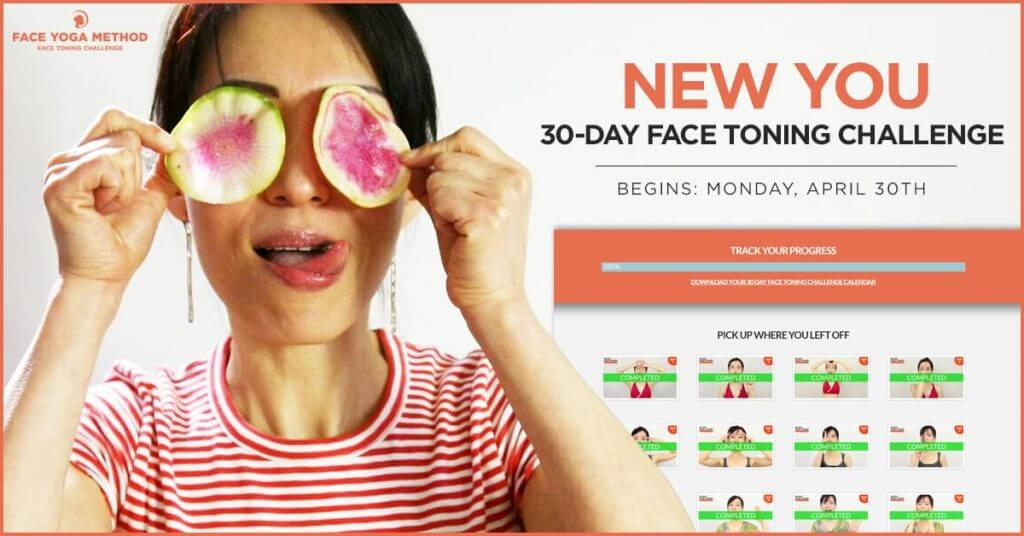 Photo of Fumiko Takatsu on the cover for her online face yoga program.