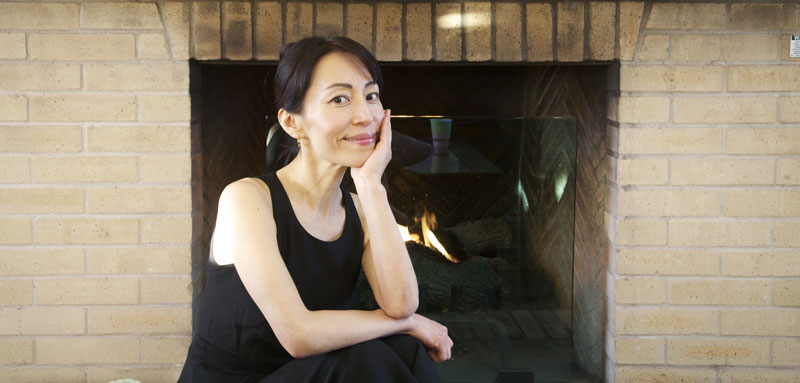 Fumiko by the fireplace