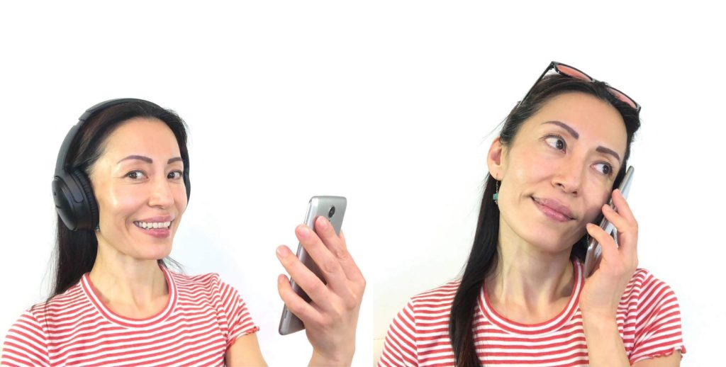 Person with headphones smiling while holding a phone vs Person talking on the phone while holding it on her ear.