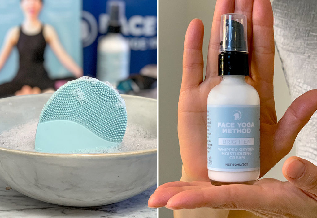 A split photo of two products - on the left side is a mint blue electrical facial brush (the Sonic Face Brush) in a gray ceramic bowl with ice in it. On the right side is a glass bottle of white facial moisturizing cream with a light blue tag, held upright on a palm.