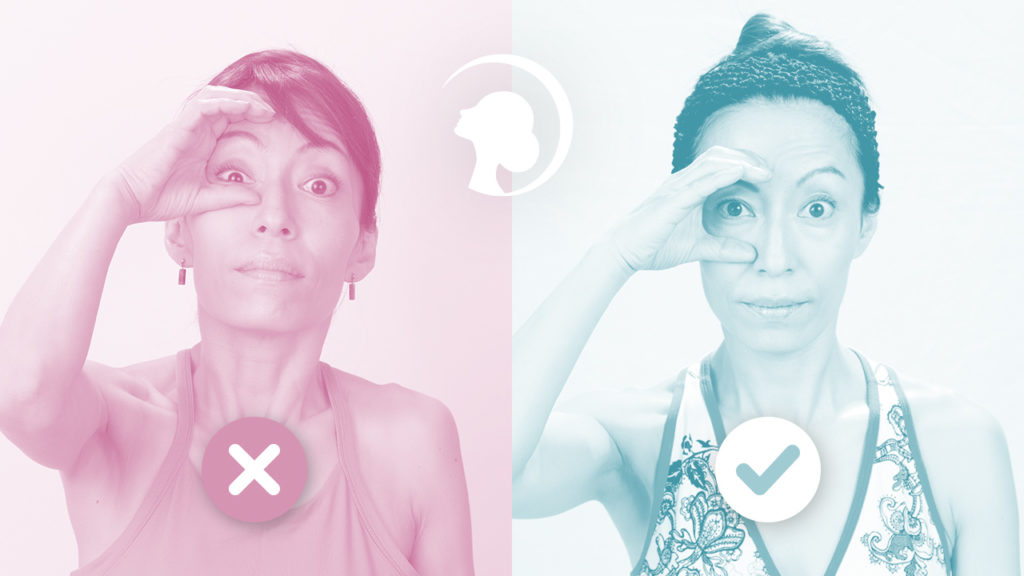 A woman in one pink and one blue photos next to each other showing facial exercises the right and wrong way.