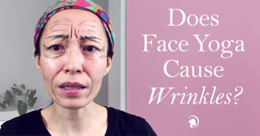 Fumiko Takatsu with a colorful bandana on her had showing a worried face with black pencil lines drawn on her forehead, temples and around mouth to illustrate wrinkles.