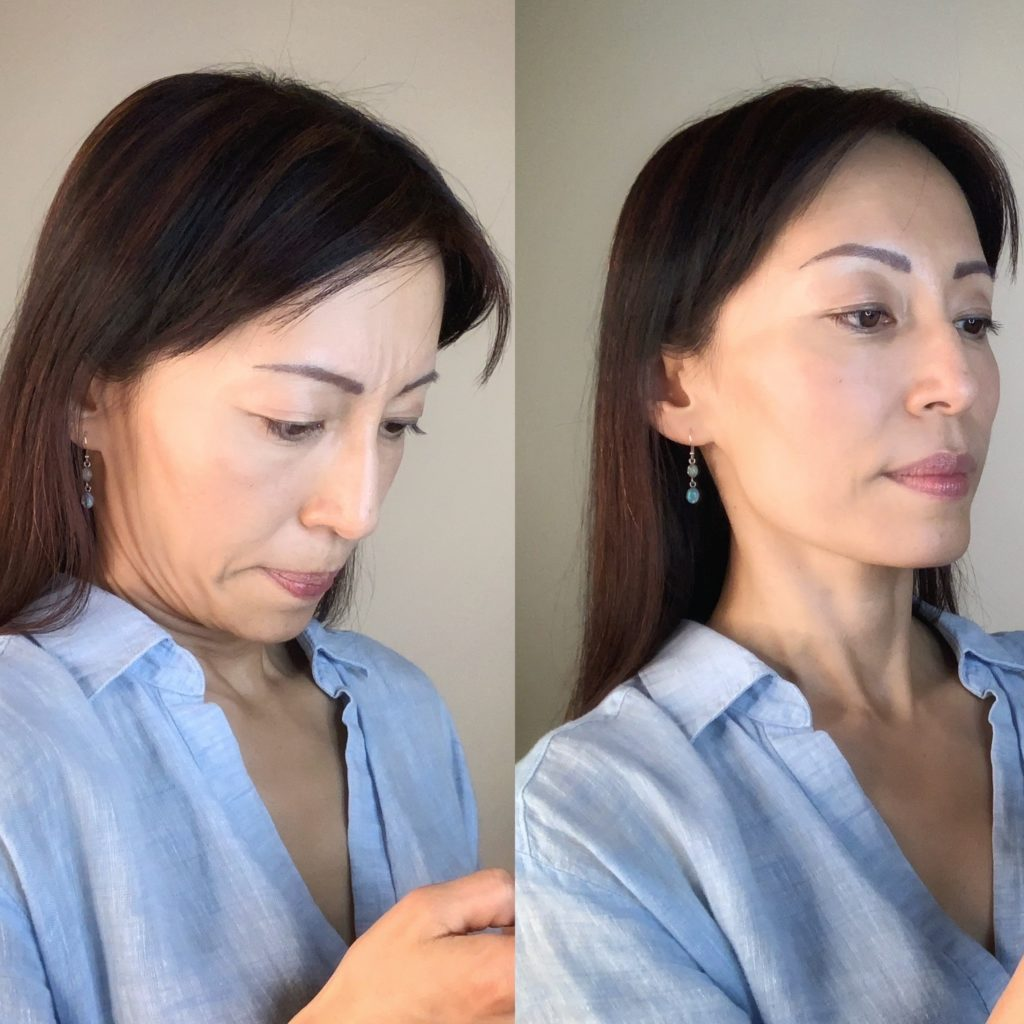 Comparison of a bad posture- head down, that is causing double chin and a good posture - head up, that helps getting rid or preventing double chin and neck skin sagging.