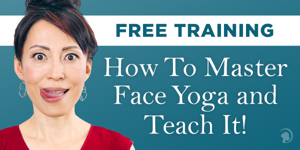 How to start your business - free training banner in blue with a face yoga teacher on the cover.