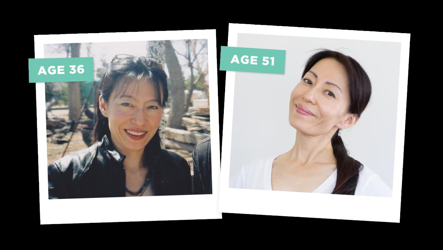 Fumiko Takatsu, the founder of the Face Yoga Method - age 36 vs age 49.