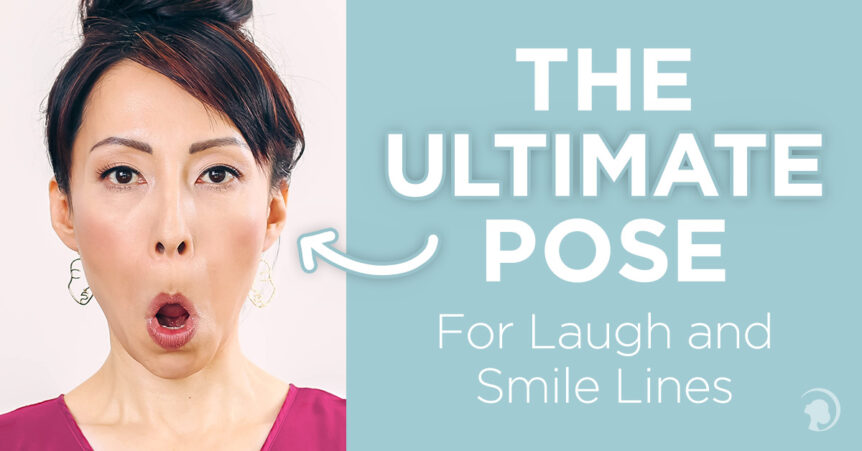 Fumiko Takatsu doing a Face Yoga exercise for laugh lines.
