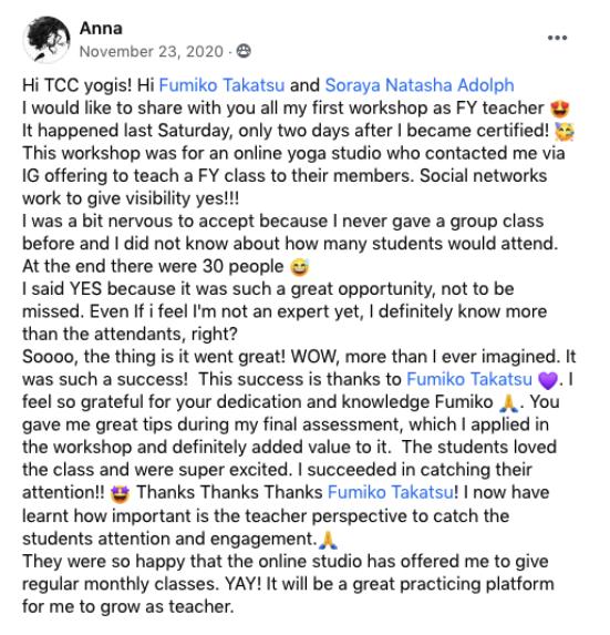 A Facebook testimonial of a Face Yoga teacher, a graduate of the Face Yoga Method Teacher Certification Course.