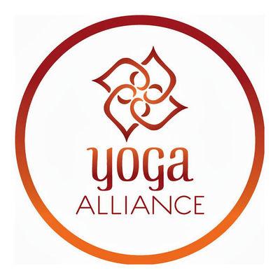 Yoga Alliance logo - white and brown